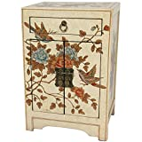 Oriental Furniture Ivory Peaceful Birds End Table Cabinet