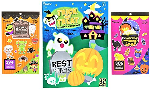 Trick Or Treat Halloween Coloring Pages (Halloween Spooky Sticker Books & Coloring Activity Book Set - 600 Stickers! - Trick-or-Treat Handouts, Children's Arts & Crafts, Kids Party Favors Classroom Prizes, & Rewards- Bundle)