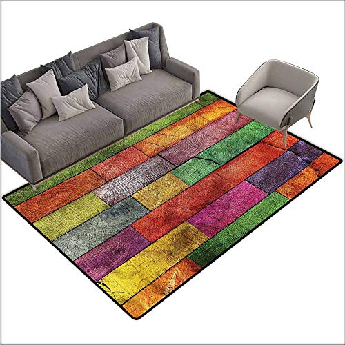 Rainbow Timber - Anti Slip House Kitchen Door Area Rug Rustic,Rainbow Timber Art 80