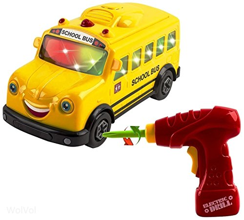 WolVol Take-A-Part Toy School Bus with Lights and Music, Inc