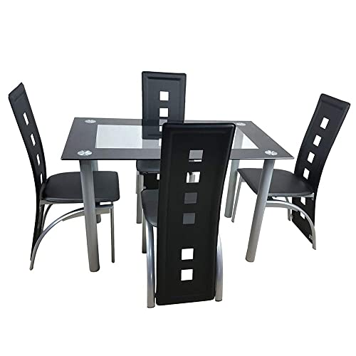 Simply-Me 5 Pieces Dining Table Set Modern Tempered Glass Dining Room Table Kitchen Table Furniture,Dining Table and 4 Chairs,Black