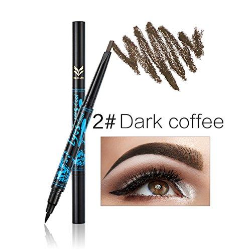 CCbeauty 2-in-1 Eyebrow Pencil Waterproof with Black Gel Liquid Eyeliner Pen Makeup Eyebrow Coloring Kit Set (Dark Coffee)