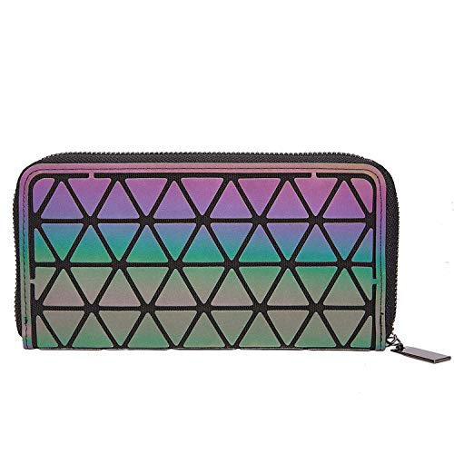 Harlermoon Geometric Luminous Holographic Purses and Handbags Flash Reflactive Tote for Women ... (Zip Wallet)