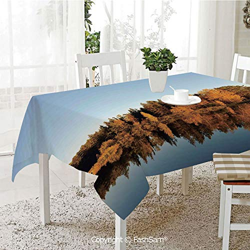 Premium Waterproof Table Cover Photo of Autumn Forest and Silhouette of The Trees Over The Lake Peace Nature Art Table Protectors for Family Dinners (W55 xL72) (Best Food South Lake Union)