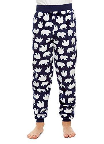 Boys Pajama Bottoms | Cozy Flannel Fleece Bear Jogger Style PJ Pants - M
