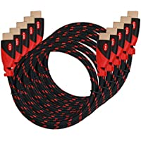 HDMI Cable,High Speed HDMI Cable KAYO Gold-Plated Supports [Ultra HD 4K Resolution 3D Ethernet Audio Return 2160p 1080p] -Braided Cord-Red,BLACK Sleeve [Latest Version] Bonus Cable Tie (6FT -5PK)