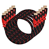 HDMI Cable,High Speed HDMI Cable KAYO Gold-Plated Supports [Ultra HD|4K Resolution|3D|Ethernet|Audio Return|2160p|1080p] -Braided Cord-Red,BLACK Sleeve [Latest Version] Bonus Cable Tie (6FT -5PK)