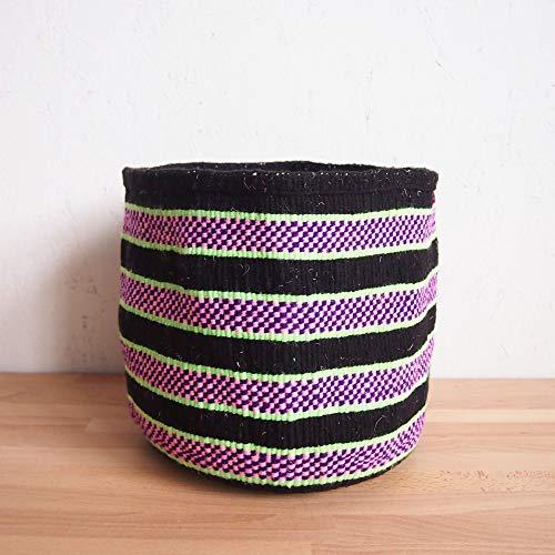 Lemon Planter (XL African Yarn Basket/Kenya Kiondo Storage Basket/Woven Planter/Black, Pink, Lemon-Lime)