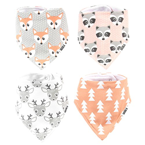 Stadela Baby Adjustable Bandana Drool Bibs for Drooling and Teething Nursery Burp Cloths 4 Pack Unisex Baby Shower Gift Set for Girl and Boy – Woodland Adventure Forest Animal Fox (Woodland Forest Animals)