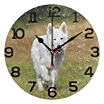 "Wall Clock Swiss Shepherd Dog White Training Outdoor Round Acrylic Clock Black Large Numbers Silent Non-Ticking 9.45"" Clock Decorative Painting Battery Operated Clock for Home School Hotel Library 3"