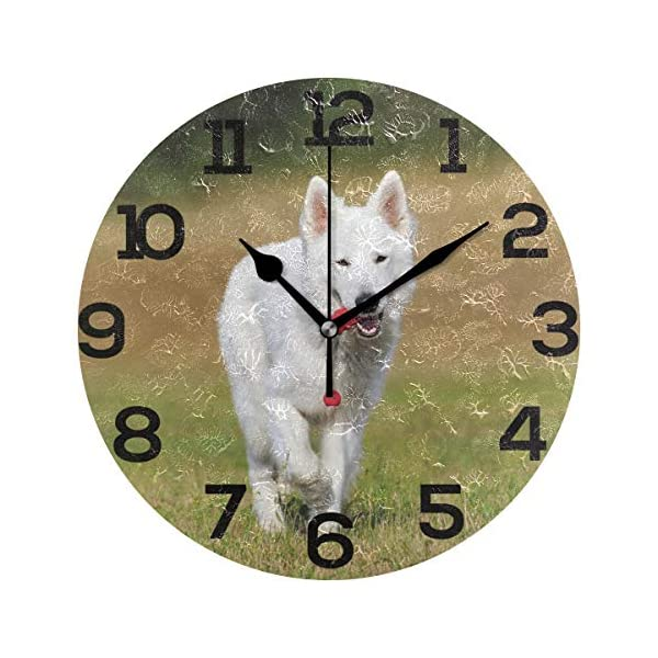 "Wall Clock Swiss Shepherd Dog White Training Outdoor Round Acrylic Clock Black Large Numbers Silent Non-Ticking 9.45"" Clock Decorative Painting Battery Operated Clock for Home School Hotel Library 1"
