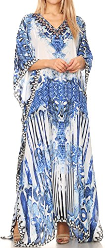 Sakkas P39 - Anahi Flowy Design V Neck Long Caftan Dress/Cover up with Rhinestone - 17186-Blue/White - (Blue Kaftan)