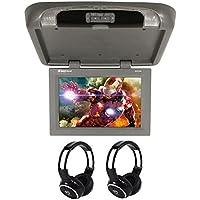 Rockville RVD17HD-GR Grey/Gray 17 Flip Down Car Monitor + Wireless Headphones