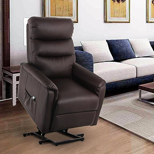 Hugger Pocket (U-MAX Recliner Power Lift Chair Wall Hugger PU Leather with Remote Control (Coffee))