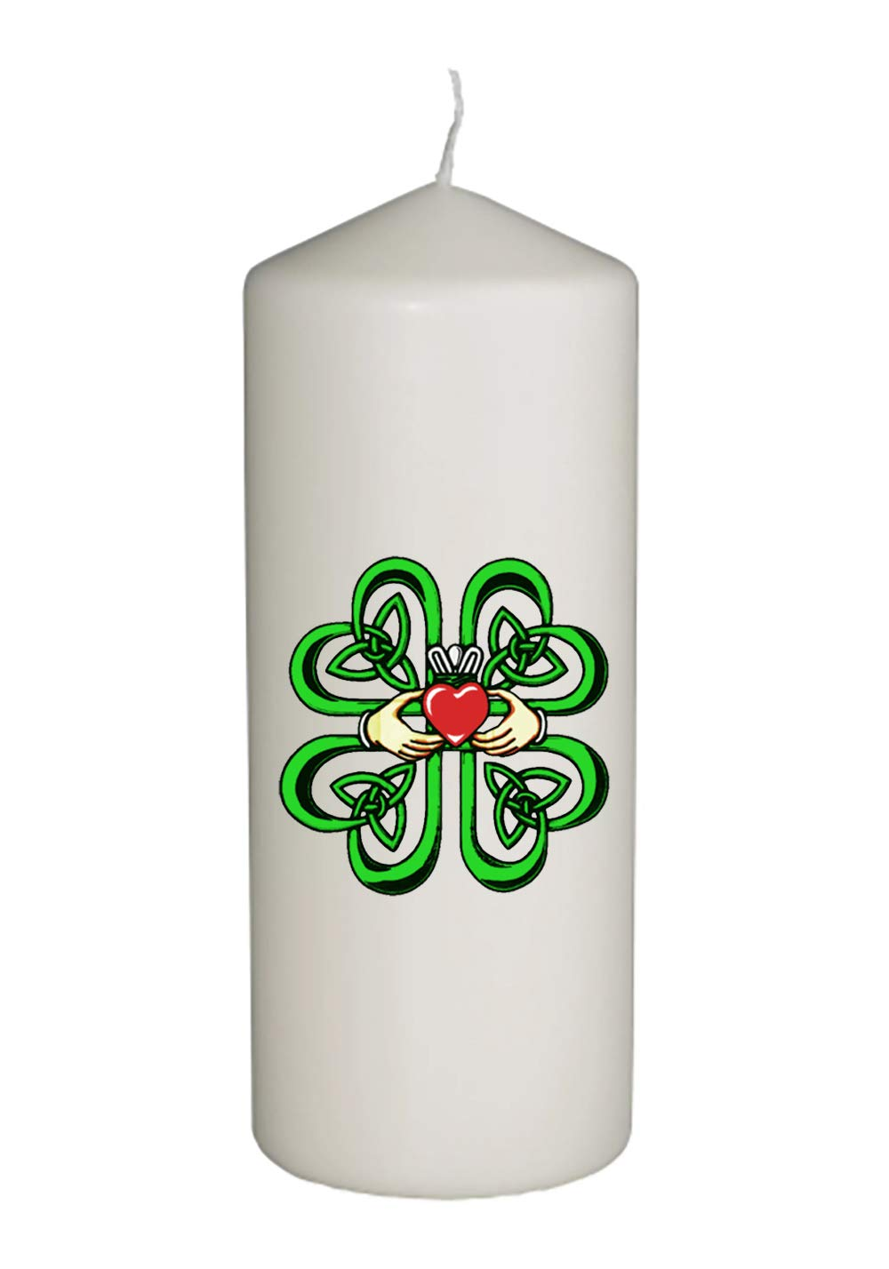 Hat Shark Irish Claddagh Ring w/Celtic Weave & Lucky Four Leaf Clover Thick White in Full Color Unity Candle - Wedding, Baptism, Funeral, Special Event Decoration (6 inches Tall)