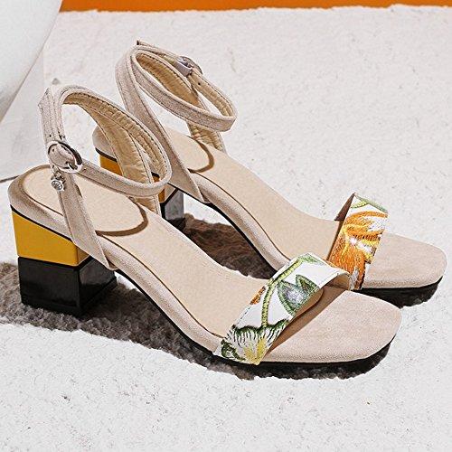 Zapatos Punta Ancho Correa Tobillo De Abierta Sandalias Coolcept Mujer Tacón Apricot RzxHW0