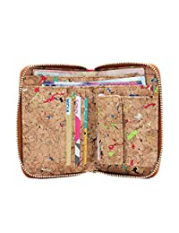 Boshiho Fashion Cork Wallet Zipper Around Design Bifold Purse Wallet with Coin Pocket Holder Eco Friendly Vegan Gift