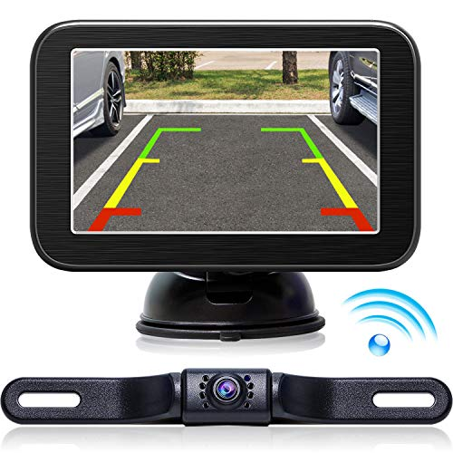 eRapta Wireless Backup Camera with Monitor System 5'' LCD Wireless Monitor Rearview Revering Rear View Back up Camera for Backing Parking Car Vehicle E5