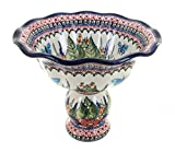 Polish Pottery Floral Butterfly Pedestal Fruit Bowl