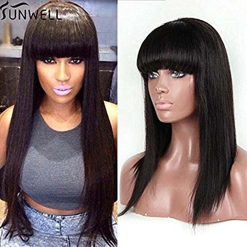 Human Hair Wigs for Black Women, Sunwell Lace Front Wigs Brazilian Hair Straight with Bangs 130% Density Natural Color 16'' by SUNWELL