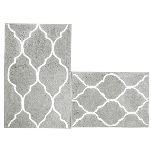 UArtlines Kitchen Mat, Decorative Non-Slip Microfiber Doormat Bathroom Mats Shower Rugs for Living Room Floor Mats (17.7x25.6+20.9x33.9, Gray)