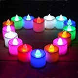 Aenmil® 24 pcs Flameless LED Candles Quick Flickering LED Tea Lights Battery Operated Candle Color-changing LED Tealight Candles for Wedding Party and Home Decoration