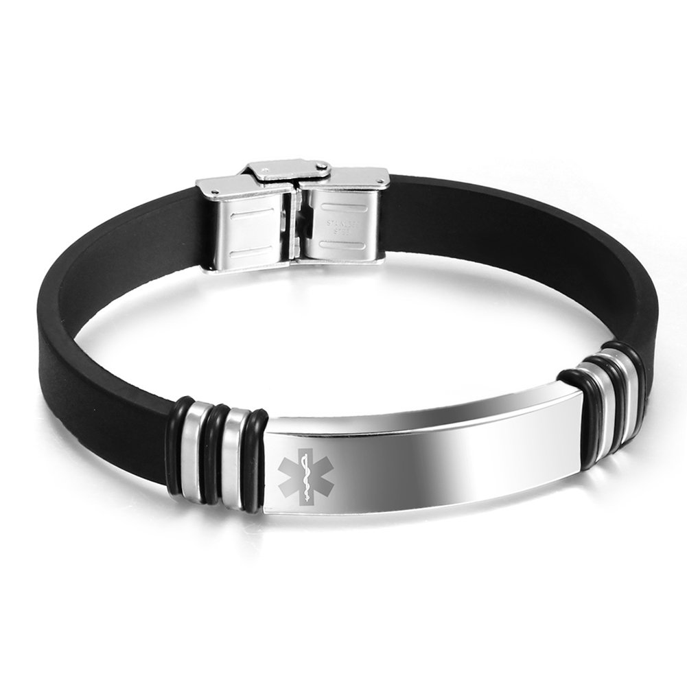 Free Engraving-Silicone Stainless Steel Medical Alert ID Cuff Identification Bracelet for Men, 8.7 8.7 VNOX Jewelry BS-042-Med