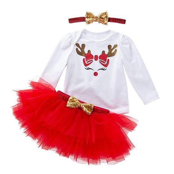 Navidad Bebe Niña Ropa, 3 Piezas, Mameluco de Algodón+Falda Roja + ...