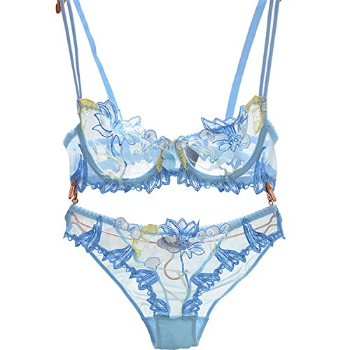 Baqijian Flowers Lace Lingerie Set Underwear Women Sexy Bra Panty Black Sky Blue (Primark Halloween Top)