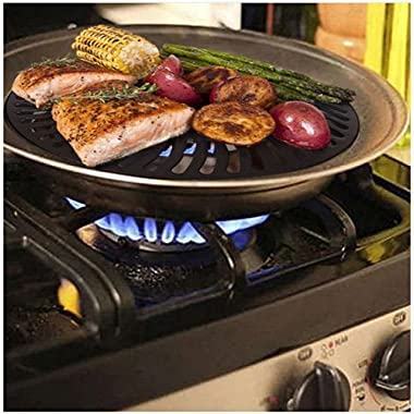 Premium Healthy Indoor Stove top Smokeless Stainless Steel BBQ Grill Kitchen Barbecue by LavoHome