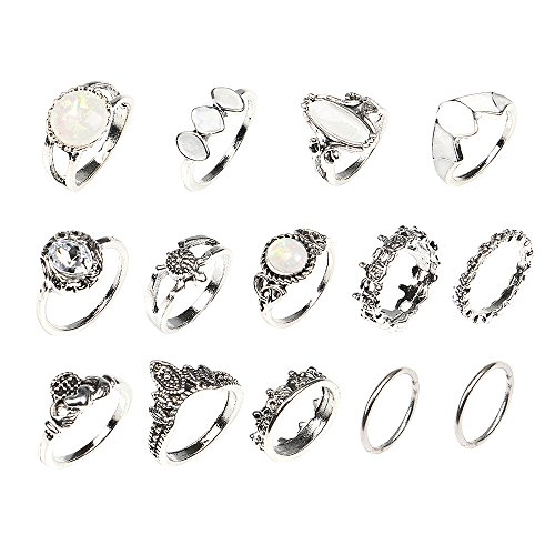 14pcs One Set Sterling Silver Plated CZ gemstones/crown/totem/opal charm Women joint Band Ring