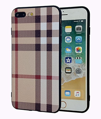(iphone 7 Plus/iphone 8 Plus Case,Retro Plaid Stripes Black TPU Rubber Protective Cover for Apple iphone 7 Plus/iphone 8 Plus 5.5 inch - Khaki)