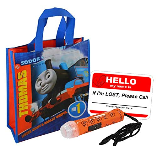 UPD Thomas The Train Boys Resuable Medium Sized Halloween Trick Treat Loot Bag!! Plus Bonus Safety First Sticker & Mini Halloween Flashlight Necklace!