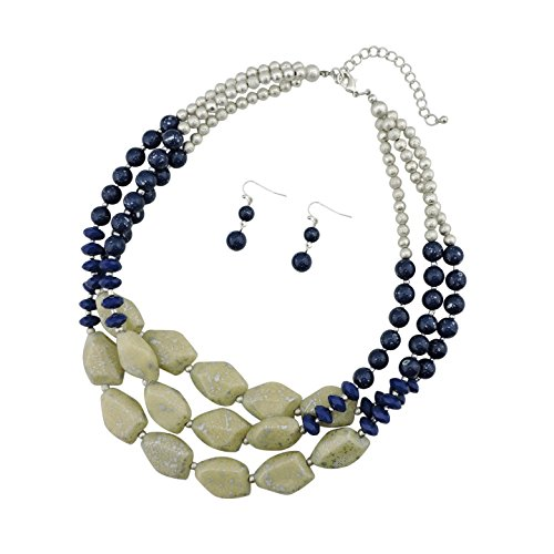 BOCAR Multi Layer Necklace for Women Beads Statement Chunky Necklace and Earring Set (NK-10204-blue+silver tone)