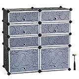 SONGMICS Shoe Rack, 8-Cube DIY Plastic Storage Drawer Units,Multifunctional Modular closet cabinet with Doors, Black ULPC25H