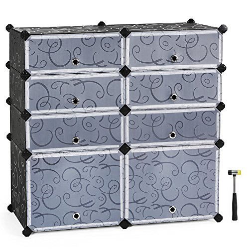 Cabinet Storage Modular Drawer (SONGMICS Shoe Rack, 8-Cube DIY Plastic Storage Drawer Units,Multifunctional Modular closet cabinet with Doors, Black ULPC25H)