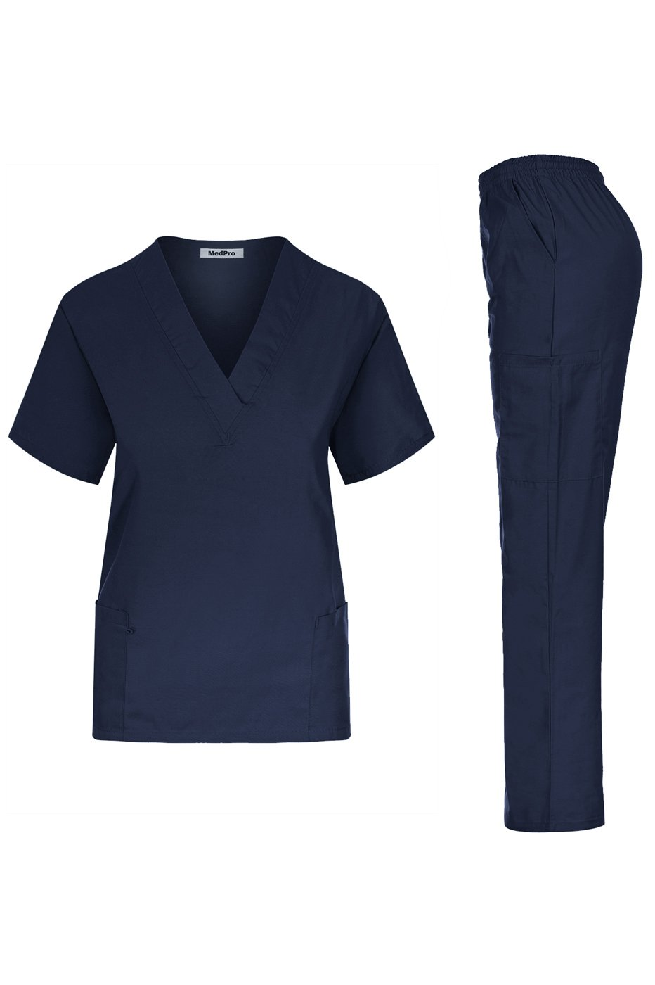 MedPro Women's Unisex Solid Medical Scrub Set V-Neck Top and Cargo Pants Navy L (GT-766)
