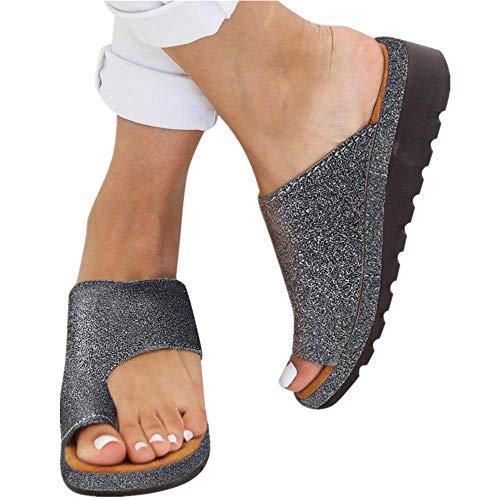 TTbuy 2019 New Women Comfy Platform Sandal Shoes Summer Beach Travel Shoes Fashion Bling Sandals Shoes Ladies Toe Ring Flat Sandal Shoes for Bunions, Woman Gladiator Sandals