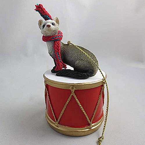 Little Drummer Ferret Christmas Ornament - Hand Painted - Delightful