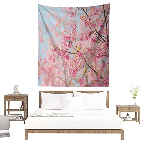 WilliamsDecor Dormitory Decorated Sand Tapestry Floral Japanese Sakura Cherry Blossom Branches Full of Spring Beauty Picture 60W x 91L INCH Suitable for Bedroom Living Room Dormitory