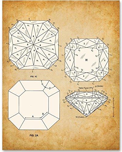 Princess Cut Diamond - 11x14 Unframed Patent Print - Great Gift for Gemologists, Jewelers or Bathroom (Vintage Cut Diamond)