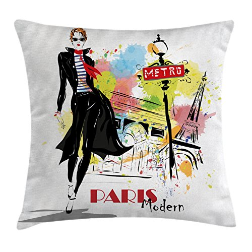 Girls Throw Pillow Cushion Cover by Lunarable, Aesthetic Fashion Woman in Clothing Walking in Paris Streets Urban City Life Theme, Decorative Square Accent Pillow Case, 36 X 36 Inches, - Paris Aesthetic