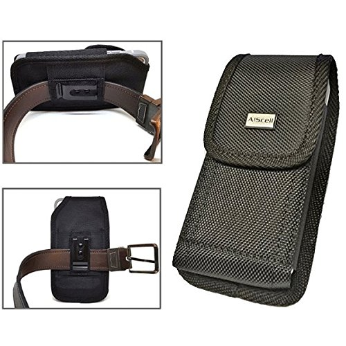 All_instore Pouch Case for Sonim XP5s/XP5 Rugged Black Nylon Canvas Flap Pouch Case Metal Belt Clip 2 Way Belt Loop Holster with Carabiner Hook ~ Great Fits Naked Phone 4326863150