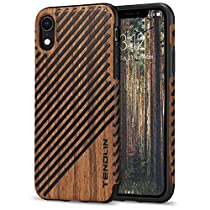 TENDLIN Compatible with iPhone XR Case Wood Grain Outside Soft TPU Silicone Hybrid Slim Case for iPhone XR