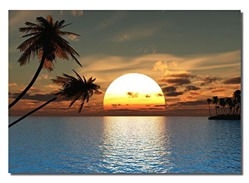 Picture Sensations Framed canvas Art Print, Tropical ocean Palm Tree Sunset Peace - 40