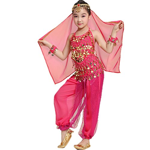 (MUNAFIE Children Belly Dance Costumes Fancy Party Cosplay Costumes Halloween Dance Sets(Large,Dark)