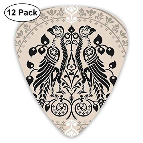 Guitar Picks 12-Pack,Ethnic Heraldic Eagle Birds With Damask Floral Figures Victorian Retro -