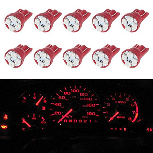 (Partsam 10pcs Red LED Light Bulb for Instrument Panel Gauge Cluster 4-3528-SMD 194 168 Miniature Wedge Lamps)