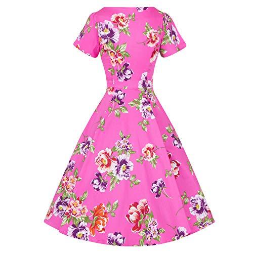 1950s da Roses Vintage Svasato Hearts Tè Violetto Rosa Floreale amp; Abito Retrò London 8TwPq6wxO