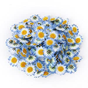Annong 100pcs Artificial Gerbera Daisy Flowers Heads for DIY Wedding Party (Blue)